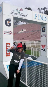 Aurora smiling very large at the finish of the Rose Bowl Race 2012