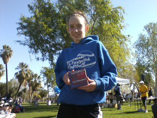 Johannah Ragland with her 1st place age group award in the Palm Springs Half Marathon 2012