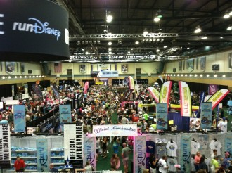 Overview from above of lots of booths at the Disney Princess half marathon expo 2012