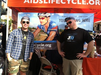 James and Michael in front of the AIDS LifeCycle booth at Tour de Palm Springs 2012