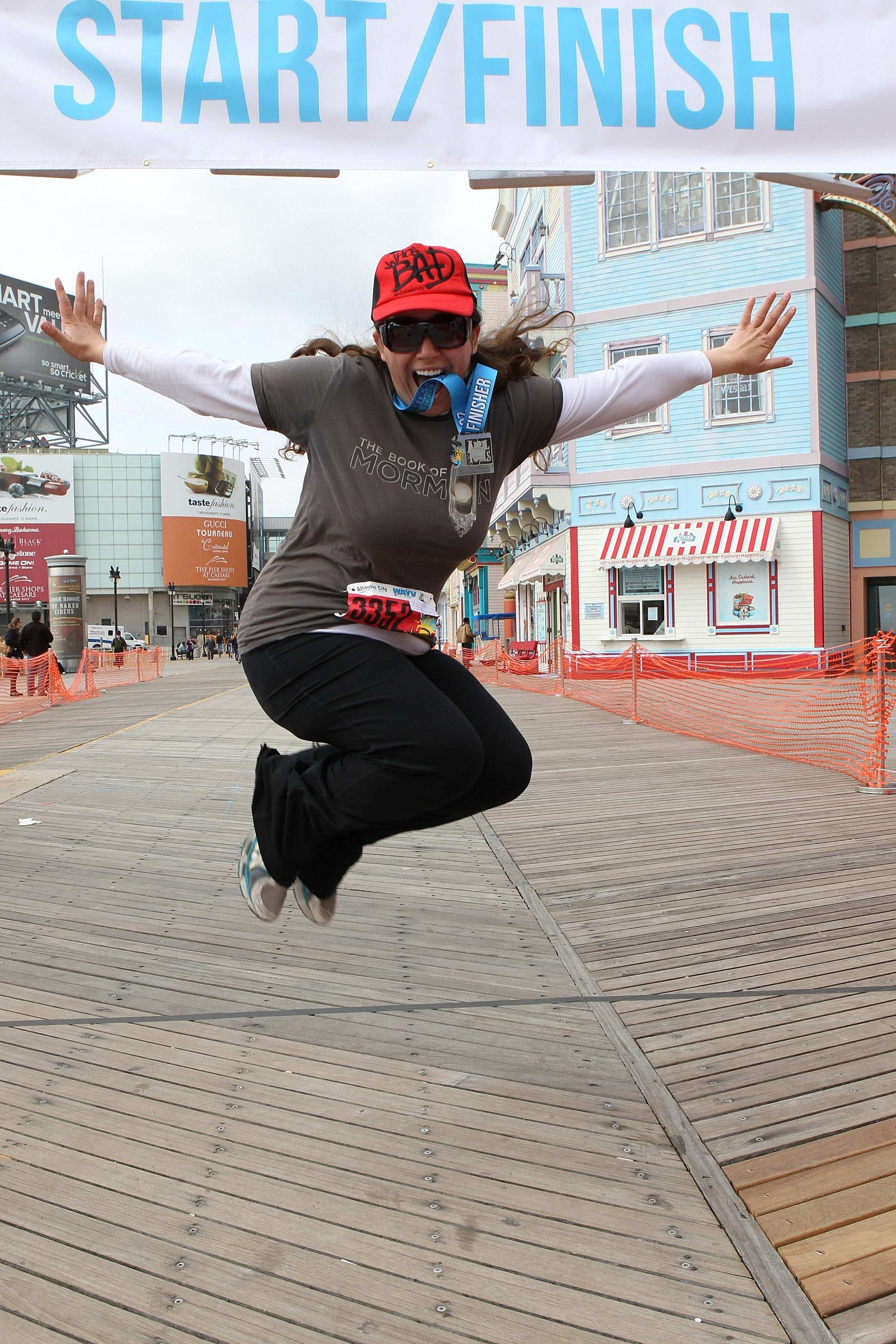 Aurora De Lucia jumping in the air after the finish of the Atlantic City race