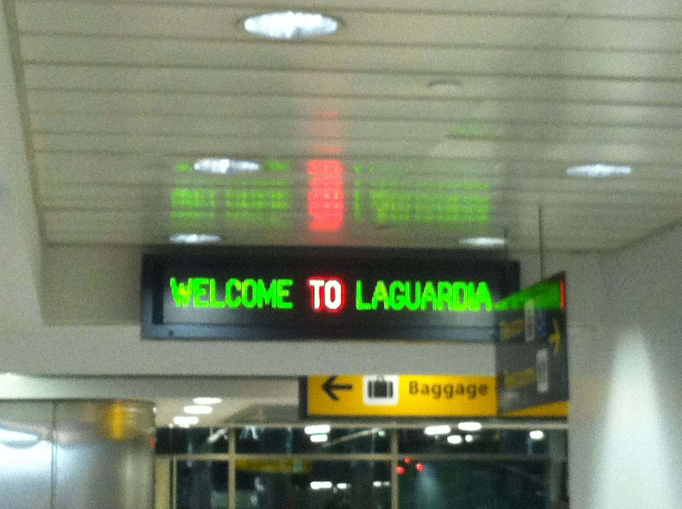 Digital Welcome to Laguardia sign in New York