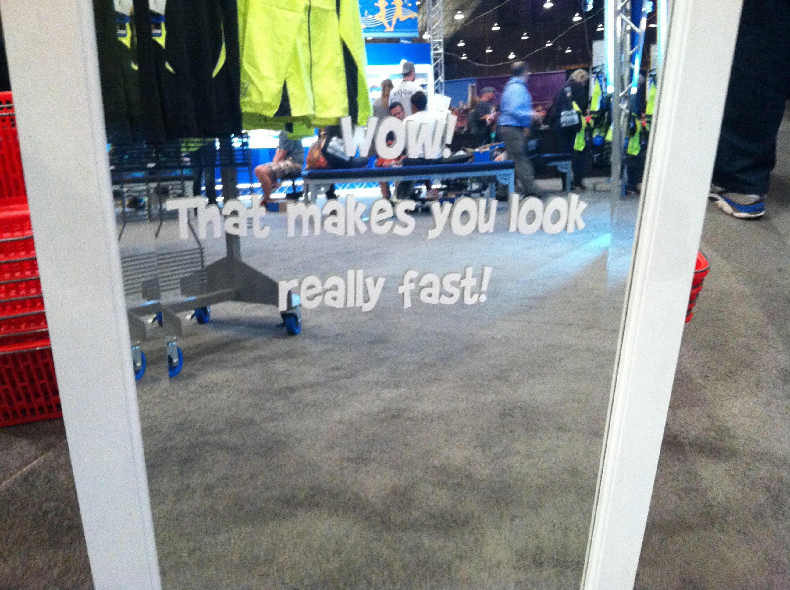 That makes you look really fast mirror at Brooks area Rock 'n' Roll USA half marathon expo 2012