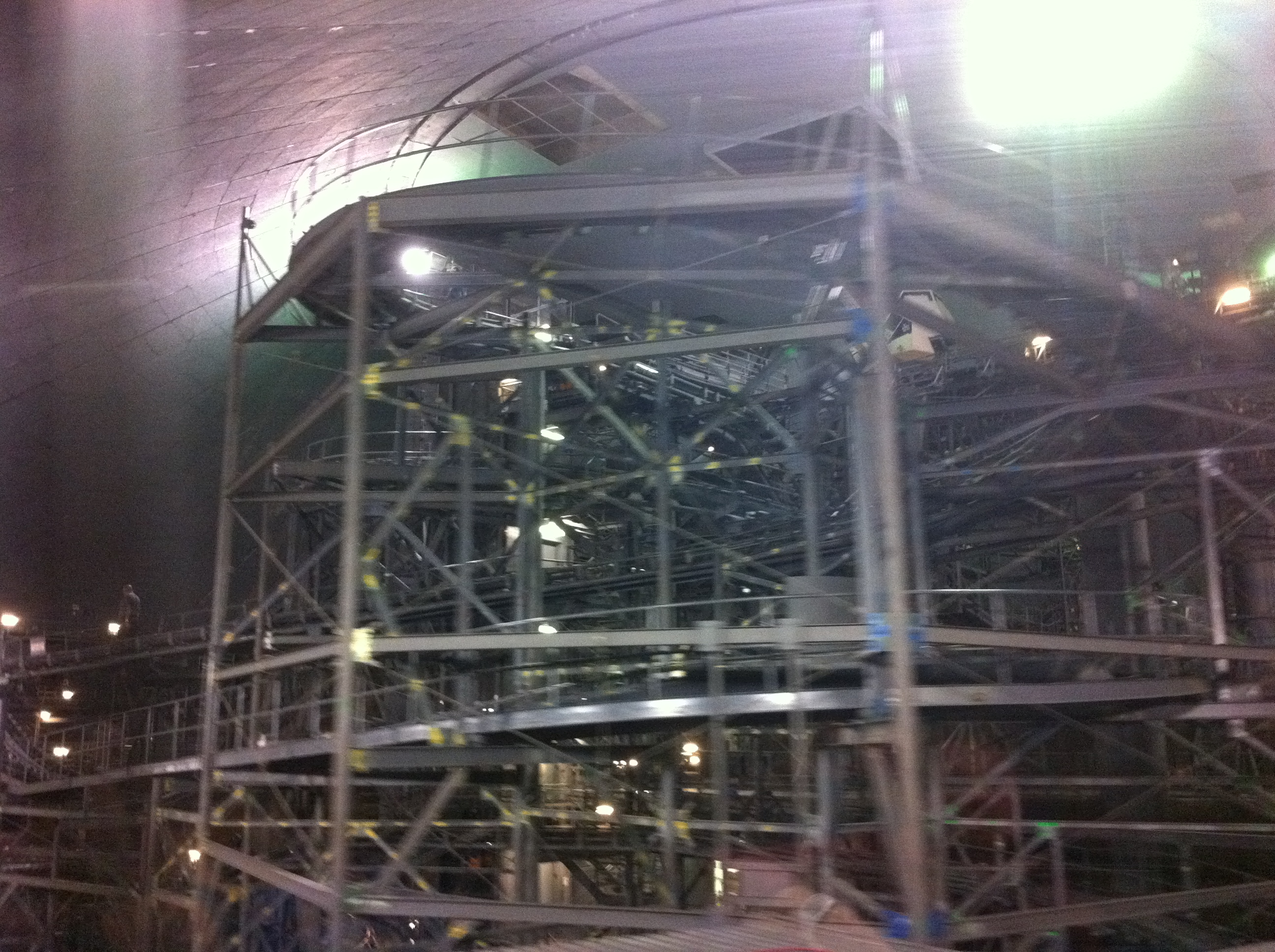 Space Mountain with the lights on in Walt Disney World