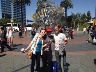Aurora posing with her friends Fareer and Amber after the finish of the Hollywood Half Marathon 2012