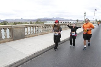 Aurora and her new friends running the Havasu half marathon