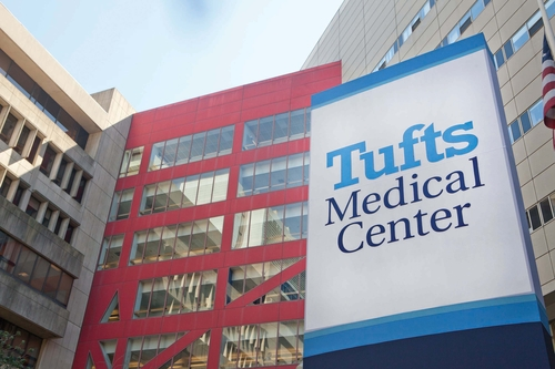 Outside view of Tufts Medical Center sign
