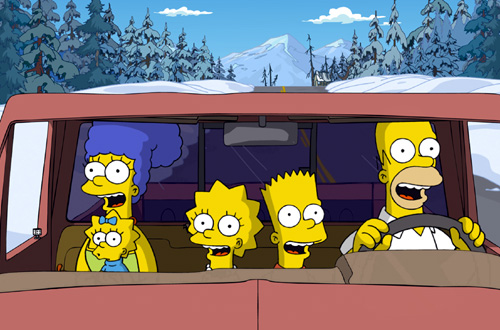 Marge, Maggie, Lisa, Bart, and Homer Simpson singing while driving in the snow to Alaska from the Simpsons movie.