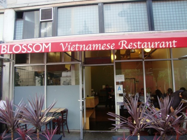 Outside storefront of Blossom Vietnamese Restaurant in downtown Los Angeles