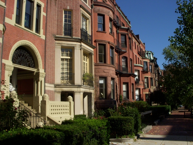 little brownstone neighborhood in Boston