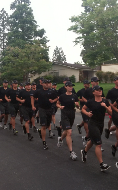 Marines running in a block together at the City of Laguna