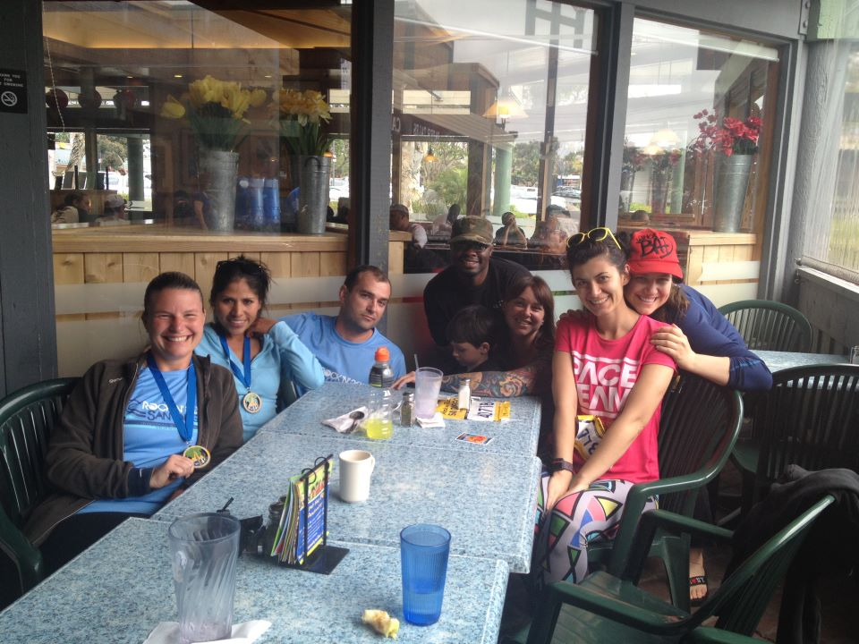 Aurora De Lucia and her new friends at lunch after Rock 'n' Roll San Diego Half Marathon 2012