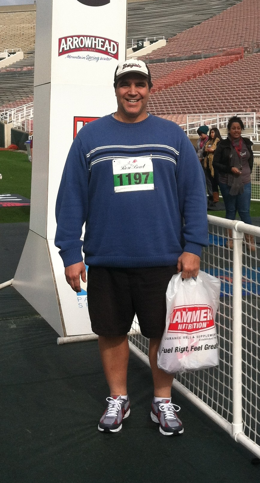 my Daddy at the finish of the Rose Bowl 5k - Pasadena, CA - January 22, 2012