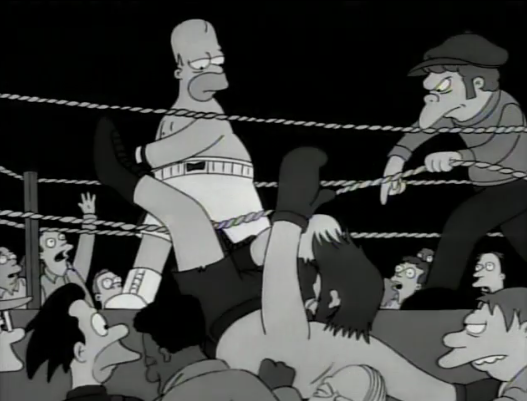 Homer Simpson in a boxing match in black and white with Moe as his coach