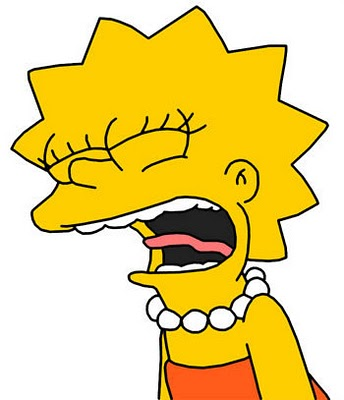 Lisa Simpson angry, screaming with tongue sticking out