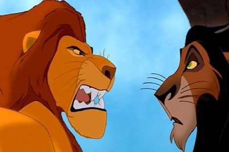 Angry dad lion from The Lion King yelling in Scar's face.