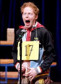 "Jesse Tyler Ferguson as Leaf Coneybear in The 25th Annual Putnam County Spelling Bee, making his ""Spelling trance face"" -acouchi"