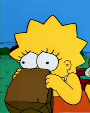 Lisa Simpson hyperventilating into paper lunch bag