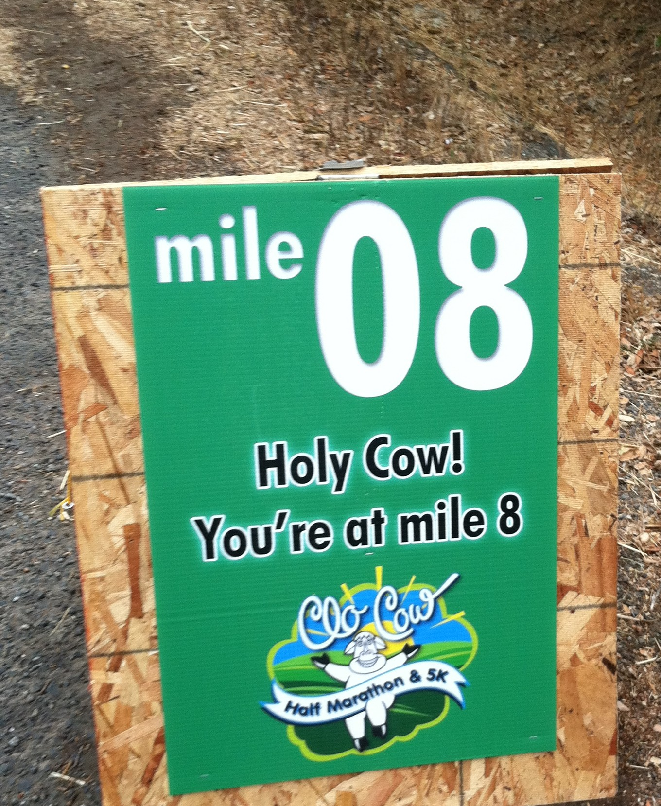 """Holy Cow! You're at Mile Marker 08"" - encouraging mile marker at the Petaluma Clo-Cow Half Marathon 2012"