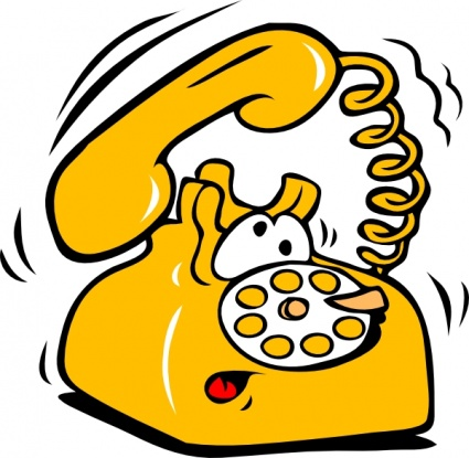 yellow cartoon rotary telephone, with an exhausted cartoon face, ringing off the hook
