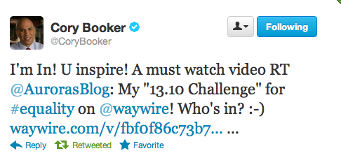 Cory Booker's tweet to Aurora De Lucia - and she is freaking out about it.