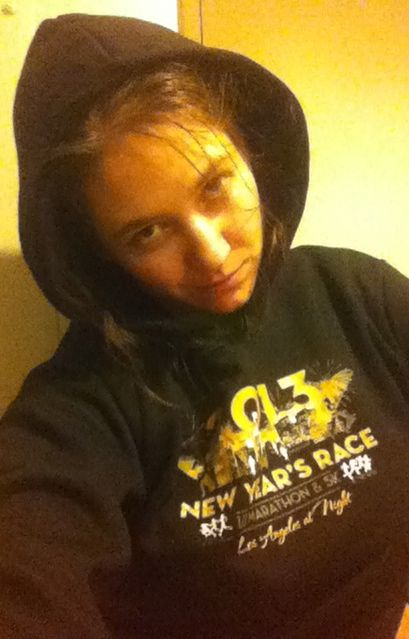 Aurora De Lucia in her New Year's Race Los Angeles 2013 hoodie