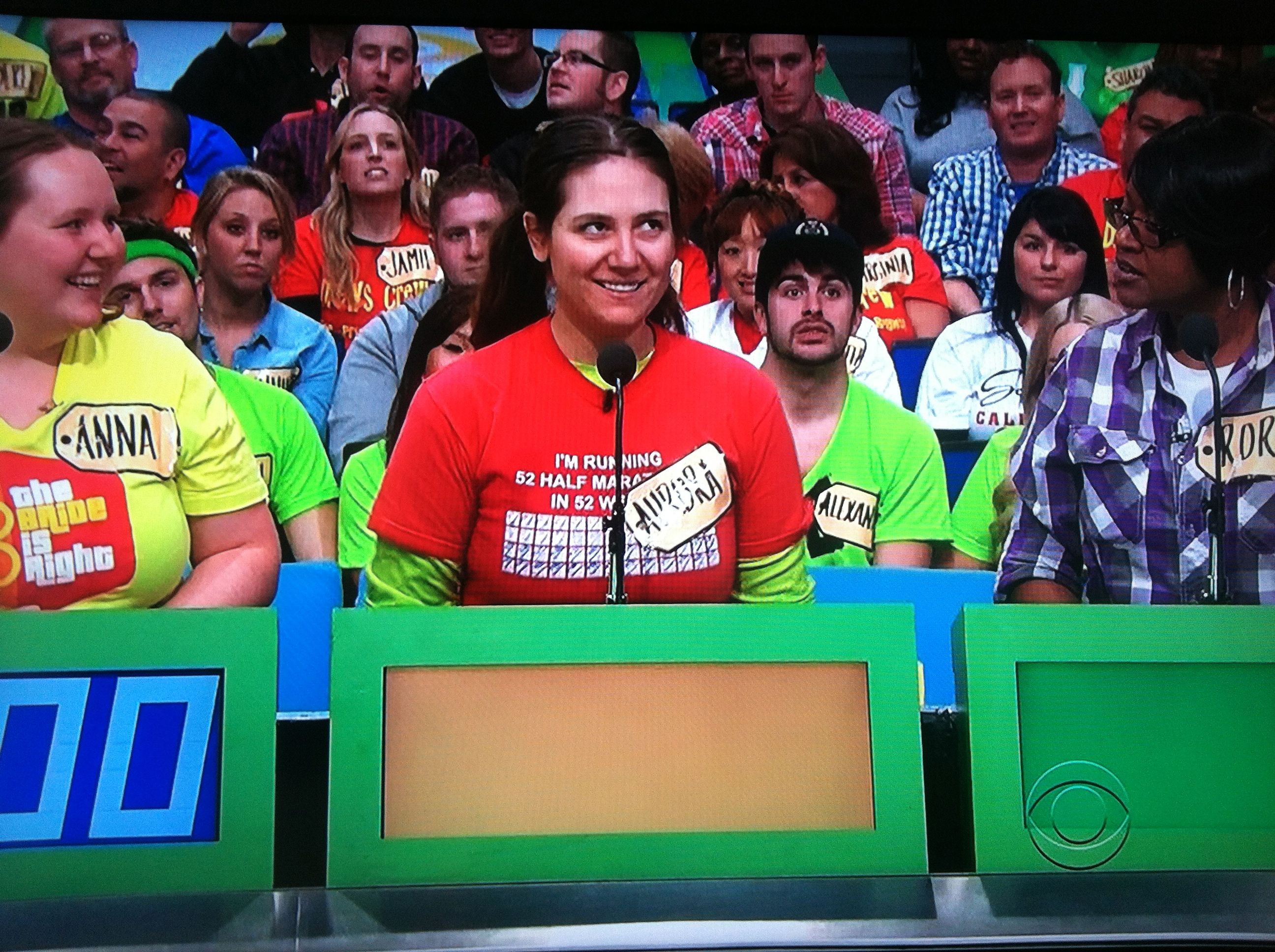 Aurora De Lucia making her bid on camcorders on contestant's row of The Price is Right