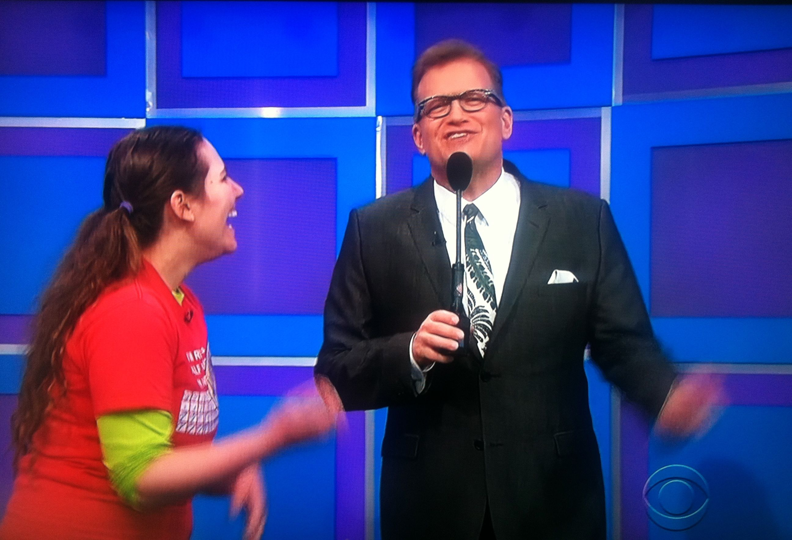 Drew Carey lightly making fun of Aurora De Lucia on The Price is Right - and she loves every second of it