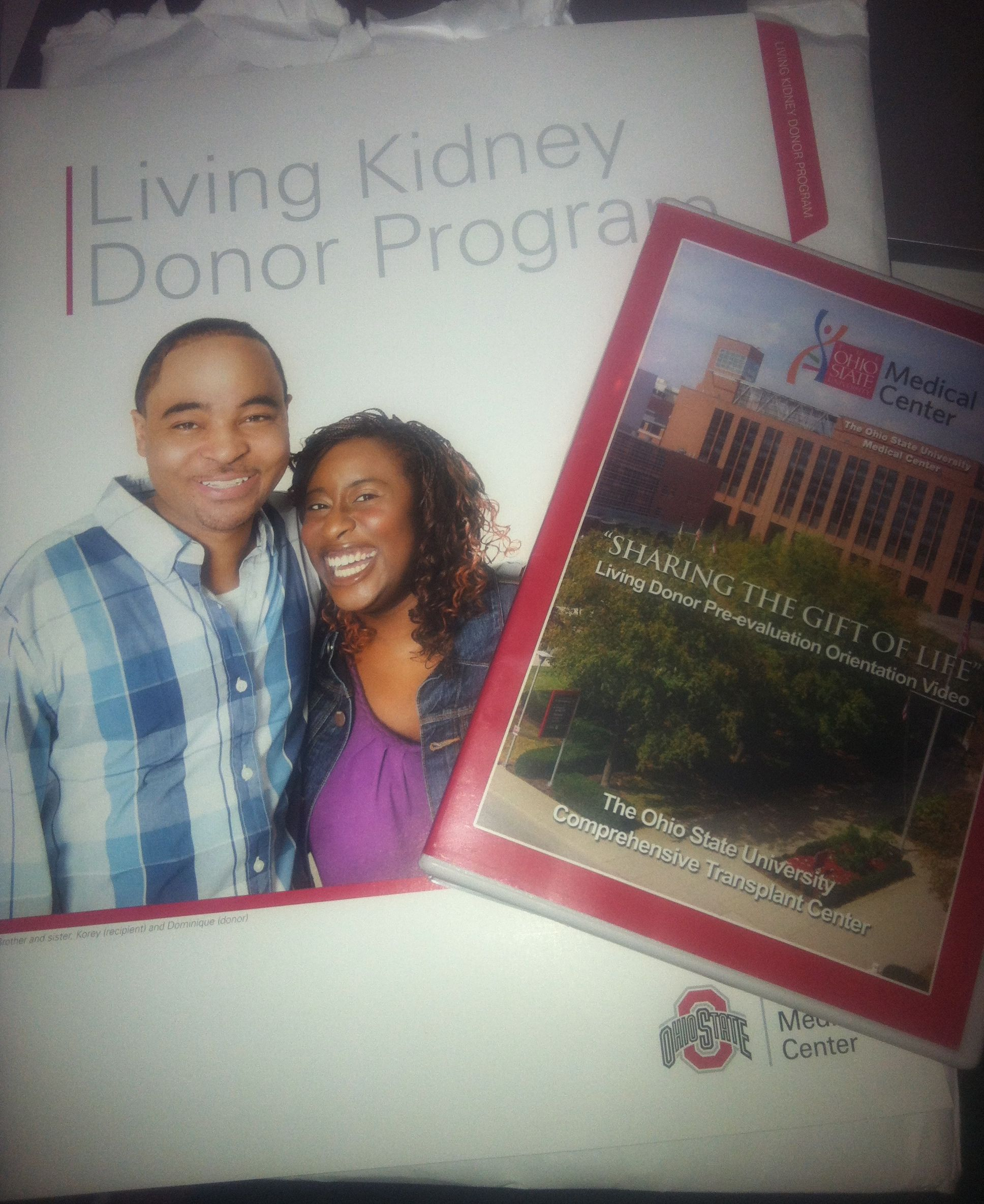 packet of information from OSU Wexner Medical Center about kidney donation