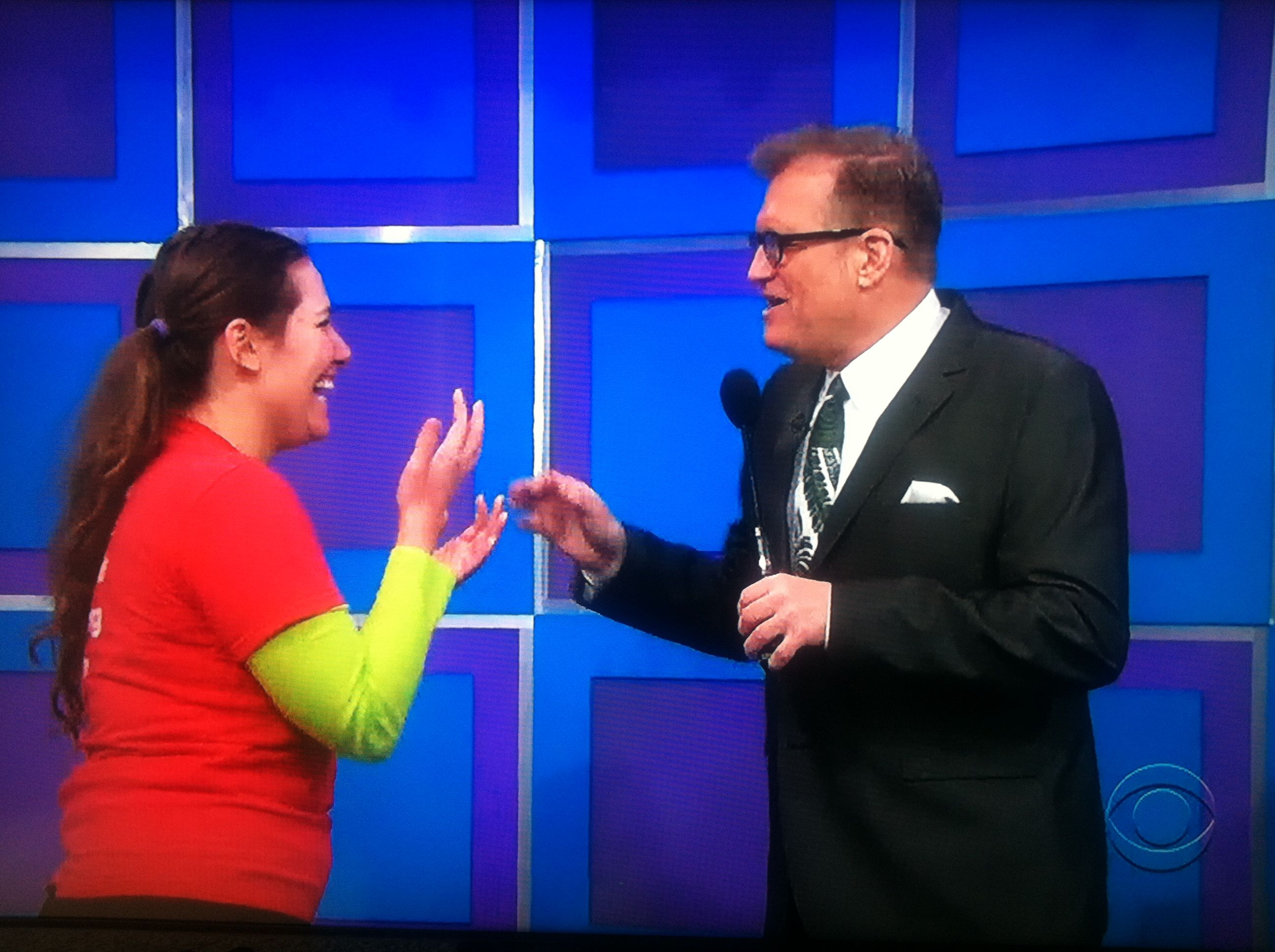 Aurora De Lucia talking with Drew Carey on The Price is Right