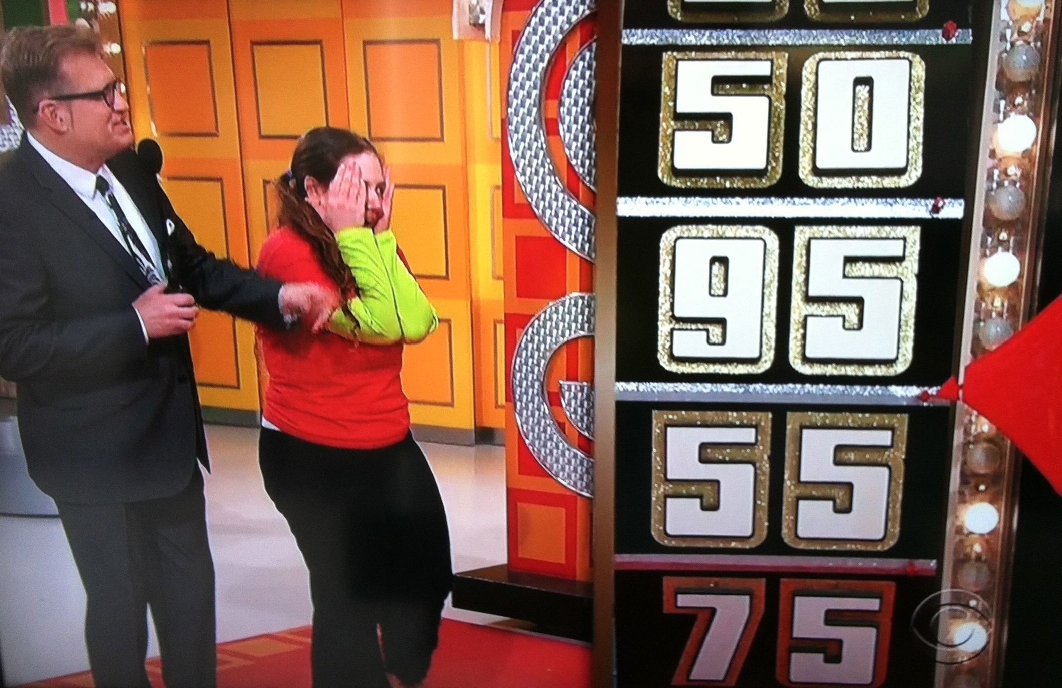 Aurora De Lucia narrowly missing 95 cents at The Price is Right wheel with Drew Carey