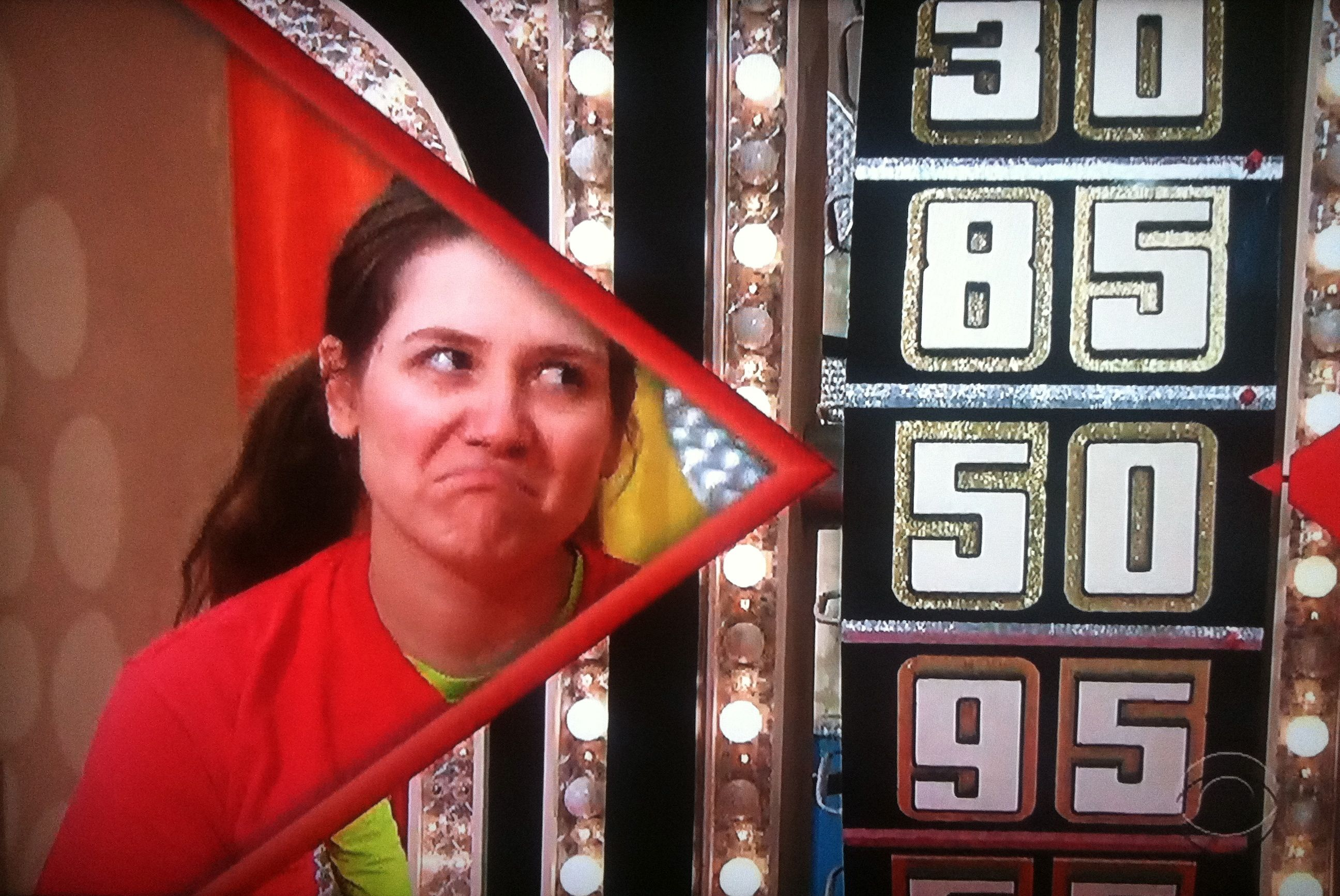 Wah wah Aurora De Lucia sad as she goes over The Price is Right wheel