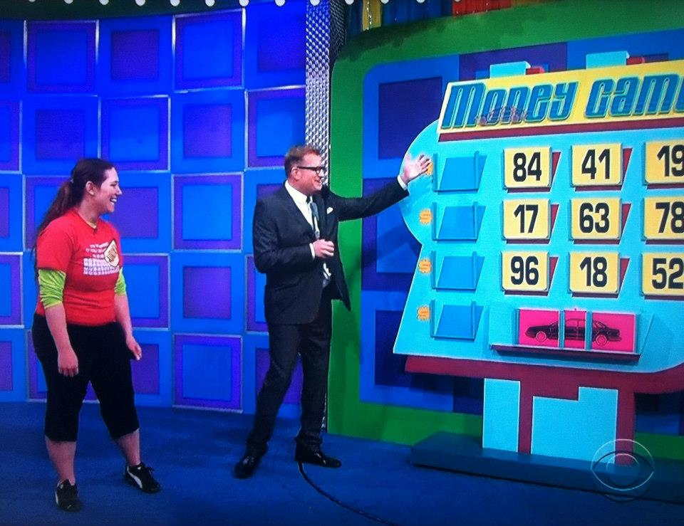 Aurora De Lucia with Drew Carey at The Money Game on The Price is Right