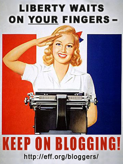 "woman saluting in front of typewriter - ""Keep on blogging"""