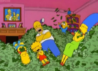 The Simpsons rolling in a huge pile of money in their living room