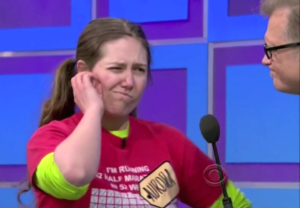 Aurora De Lucia thinking during The Money Game on Price is Right