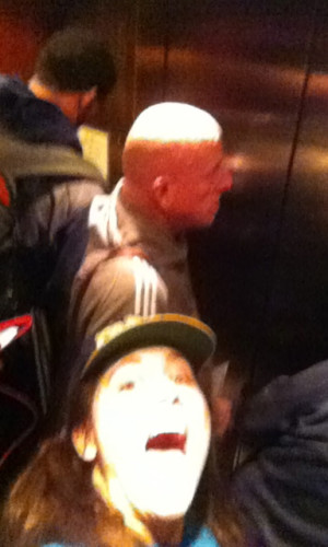 in the elevator with some of the Pacers