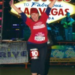 Aurora at the Rock 'n' Roll Las Vegas Half Marathon 2012, in front of the Welcome to Vegas sign