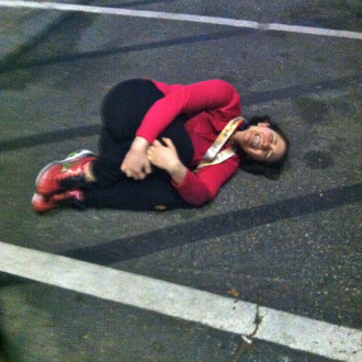 Lying in the parking lot after being 44 seconds off. (This will have to do until the pro photos come out.)
