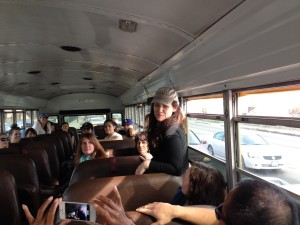 Aurora De Lucia playing a game on the Do Good Bus