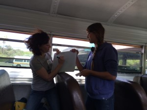 speed pictionary being played on the Do Good Bus