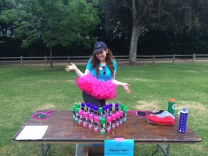 Aurora De Lucia making a little pose at the Girls on the Run 5k (Happy hair station)