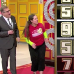 Aurora De Lucia and Drew Carey looking tense at The Price is Right wheel