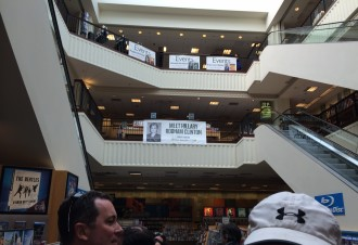 banners inside Barnes and Noble, advertising the book signing of Hillary Rodham Clinton