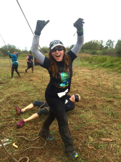 Aurora walking away from the Hercules Hoist in a celebratory manner at the Spartan trifecta-in-a-day 2014