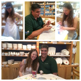 Little collage of Daddy and Aurora at Color Me Mine