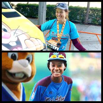 Aurora alongside a photo of Mo'ne Davis, with both of them laughing at a bunny