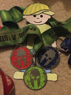 Flat Stanley wearing some race medals