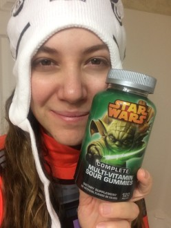 Aurora posing bleary eyes with some Star Wars vitamins