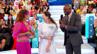Aurora De Lucia laughing with her new friends on Let's Make a Deal